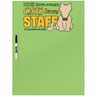 猫にスタッフのカスタムな伝言板があります ホワイトボード