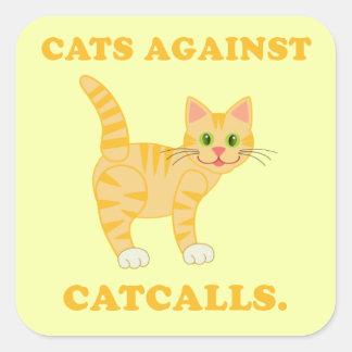 """""""猫に対する猫""""はステッカーを呼びます スクエアシール"""