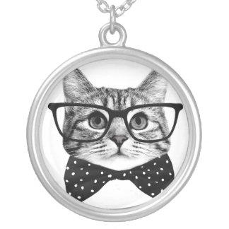 猫のちょうネクタイ-ガラス猫-ガラス猫 シルバープレートネックレス