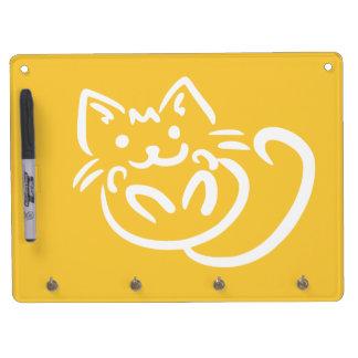 猫のイラストレーションのカスタムな伝言板 キーホルダーフック付きホワイトボード