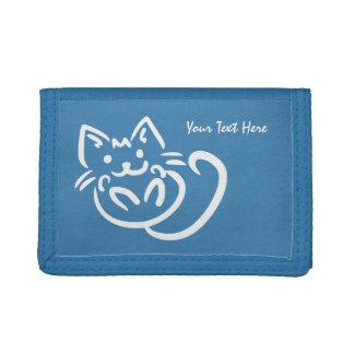猫のイラストレーションのカスタムの札入れ ナイロン三つ折りウォレット