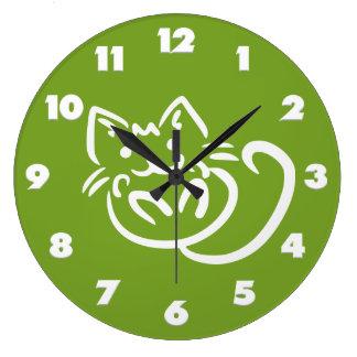 猫のイラストレーションカスタムな色の柱時計 ラージ壁時計