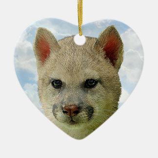 猫のオオカミ- Multプロダクト 陶器製ハート型オーナメント