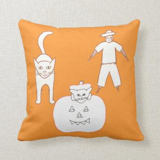 猫のカボチャかかしのハロウィンの枕 クッション