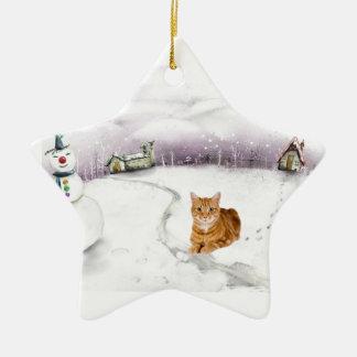 猫のクリスマスのオーナメント セラミックオーナメント