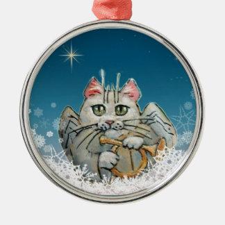猫のクリスマスの天使のオーナメント メタルオーナメント
