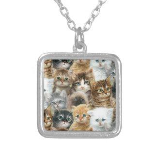 猫のコラージュ シルバープレートネックレス