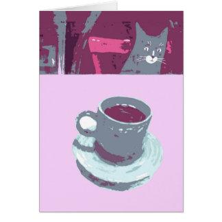 猫のコーヒー挨拶状 グリーティングカード
