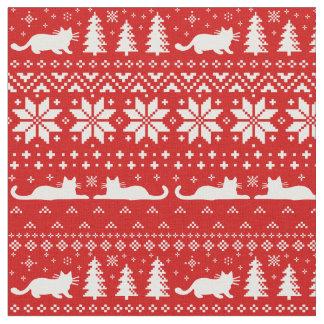 猫のシルエットのクリスマスのセーターのスタイルパターン ファブリック