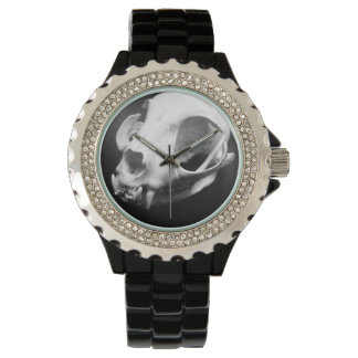 猫のスカルのゴシック様式ラインストーンの黒の腕時計 腕時計