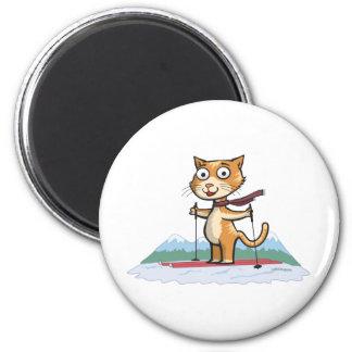 猫のスキー マグネット
