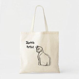猫のスケッチのスケッチ芸術家のテンプレート トートバッグ