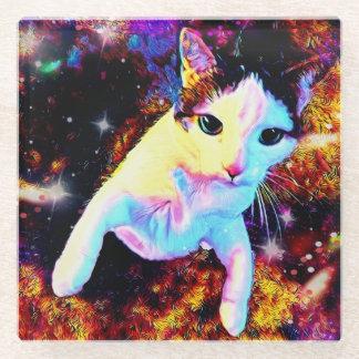 猫のダンスの子猫のカラフルでかわいいディスコガラスのコースター ガラスコースター