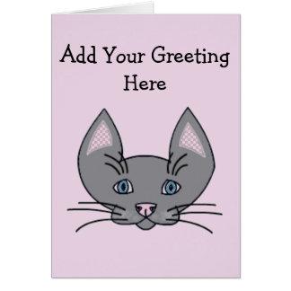 猫のデザインの名前入りなメッセージカード カード