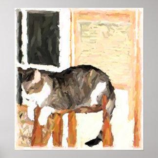 猫のデジタルとまる写真 ポスター