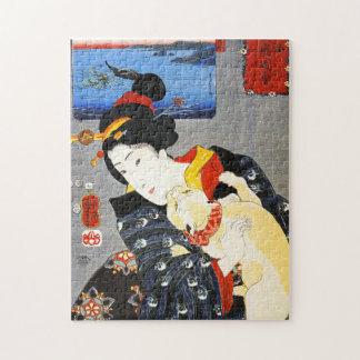 猫のパズルを持つKuniyoshiの女性 ジグソーパズル