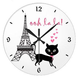 猫のパリの時計 ラージ壁時計