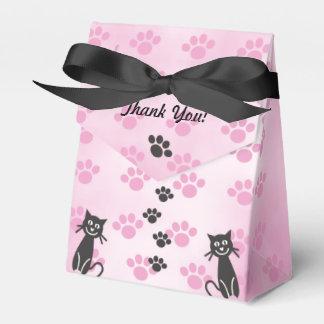 猫のピンクの黒い足のプリントをカスタマイズ フェイバーボックス