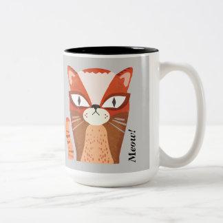猫のマグ、猫のギフト、猫好きのマグ ツートーンマグカップ