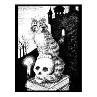 猫のメインのあらいぐまのハロウィンの黒く及び白い郵便はがき ポストカード