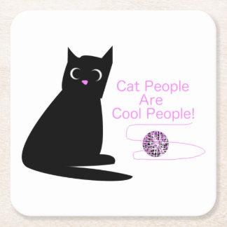 猫の人々はクールな人々です スクエアペーパーコースター