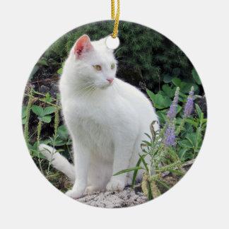 猫の写真のオーナメントの両面動物愛好家のギフト セラミックオーナメント