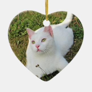 猫の写真のハートのオーナメントの両面動物愛好家 セラミックオーナメント