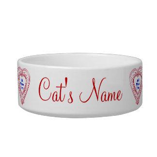 猫の写真の赤いハートの食糧皿 ボウル