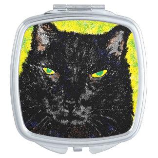 猫の凝視の正方形のコンパクトの鏡