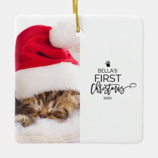 猫の初めてのクリスマスの写真の休日 セラミックオーナメント