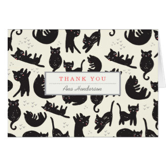 猫の女性サンキューカード カード