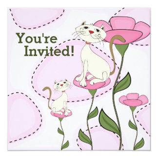 猫の子ネコおよびピンクの花のベビーシャワーの招待状 カード