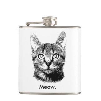 猫の子ネコのかわいい猫の鳴き声の手描きの黒い及び白 フラスク