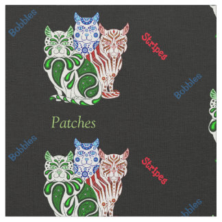 猫の子ネコの民芸パッチはまたは組合せを縞で飾りますか、またはへまをします ファブリック