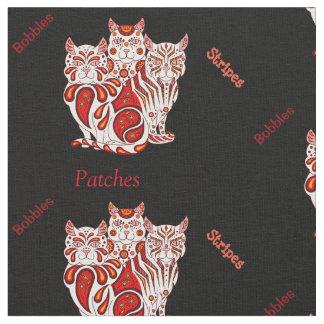 猫の子ネコの民芸パッチはまたは赤を縞で飾りますか、またはへまをします ファブリック