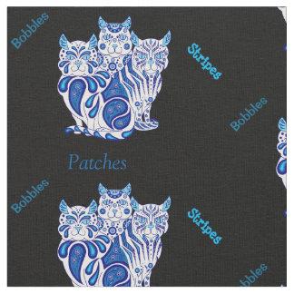 猫の子ネコの民芸パッチはまたは青を縞で飾りますか、またはへまをします ファブリック