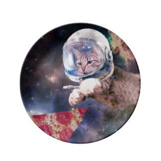 猫の宇宙飛行士-おもしろいな猫-宇宙の猫 磁器プレート