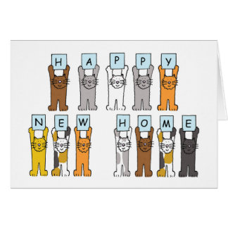 猫の幸せで新しい家 グリーティングカード