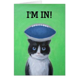 猫の挨拶状のフットボール グリーティングカード