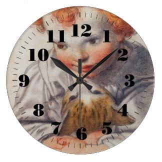 猫の時計を持つ子供 クロック