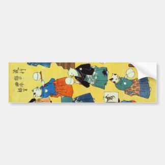 猫の曲芸師、Kuniyoshi、Ukiyo-e、猫の国芳の曲芸師 バンパーステッカー