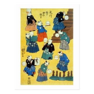 猫の曲芸師、Kuniyoshi、Ukiyo-e、猫の国芳の曲芸師 ポストカード