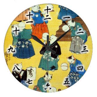 猫の曲芸師、Kuniyoshi、Ukiyo-e、猫の国芳の曲芸師 ラージ壁時計