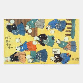 猫の曲芸師、Kuniyoshi、Ukiyo-e、猫の国芳の曲芸師 長方形シール