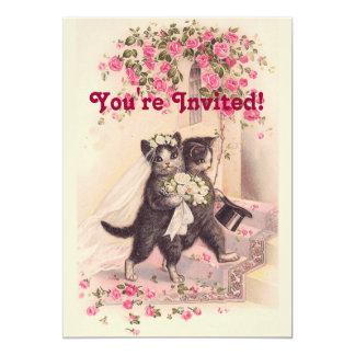 猫の柔らかいピンクの招待状を結婚するヴィンテージ カード