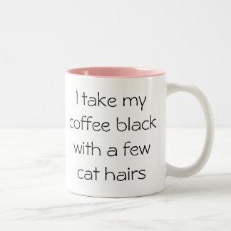 猫の毛のマグとのおもしろいなコーヒー黒 ツートーンマグカップ