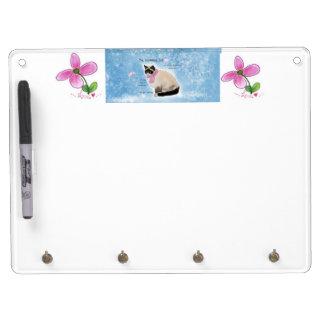 猫の消す物板 キーホルダーフック付きホワイトボード