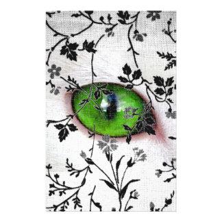 猫の涼しいゴシック様式花のガーリーな目 便箋
