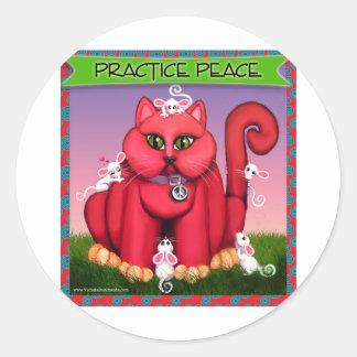 猫の練習の平和 ラウンドシール