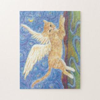 猫の翼の星明かりの夜青空11x14のパズル ジグソーパズル